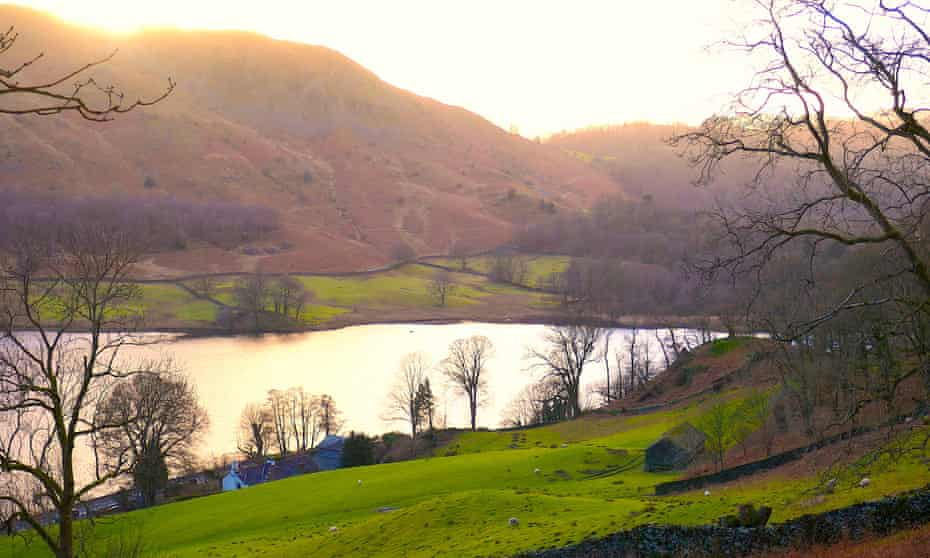 Sunset view of Rydal Water, Cumbria.