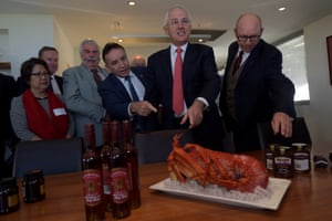 The prime minister, Malcolm Turnbull, admires a lobster during a meeting with local business owners after touring the Josef Chromy winery in the seat of Bass in Launceston on Friday.
