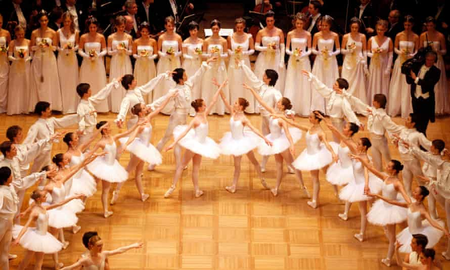 Dancers of the opera ballet perform during the opening of the traditional Opera Ball