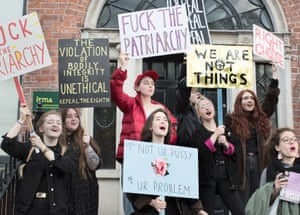 Students buoyed by the international women's movement call for greater autonomy over their bodies at a protest in Dublin