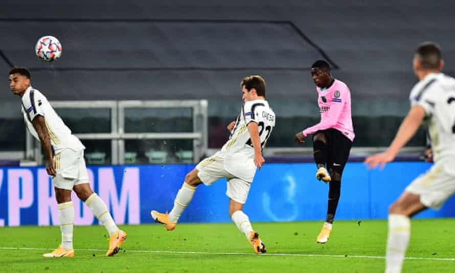 Barcelona's Ousmane Dembélé opens the scoring in their Champions League match against Juventus.