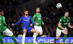 Ruben Loftus-Cheek curls in Chelsea's third goal in their win against Brighton.
