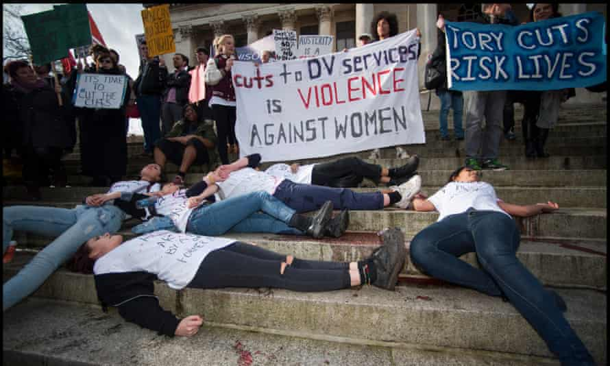 Sisters Uncut protest against cuts to domestic violence services outside Portsmouth's Guildhall.