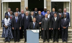 World leaders, including Tony Blair and George W Bush, attend a photo-call at the Gleneagles summit