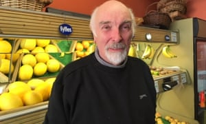 Norman Fitzpatrick in his grocery shop in Killyleagh, Northern Ireland