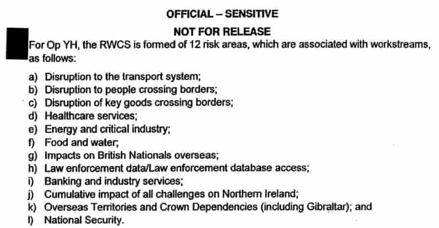 Risk areas identified by the Cabinet Office.