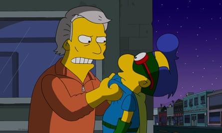 Harlan Ellison guest voicing as himself in the Married to the Blob episode of The Simpsons in 2014.