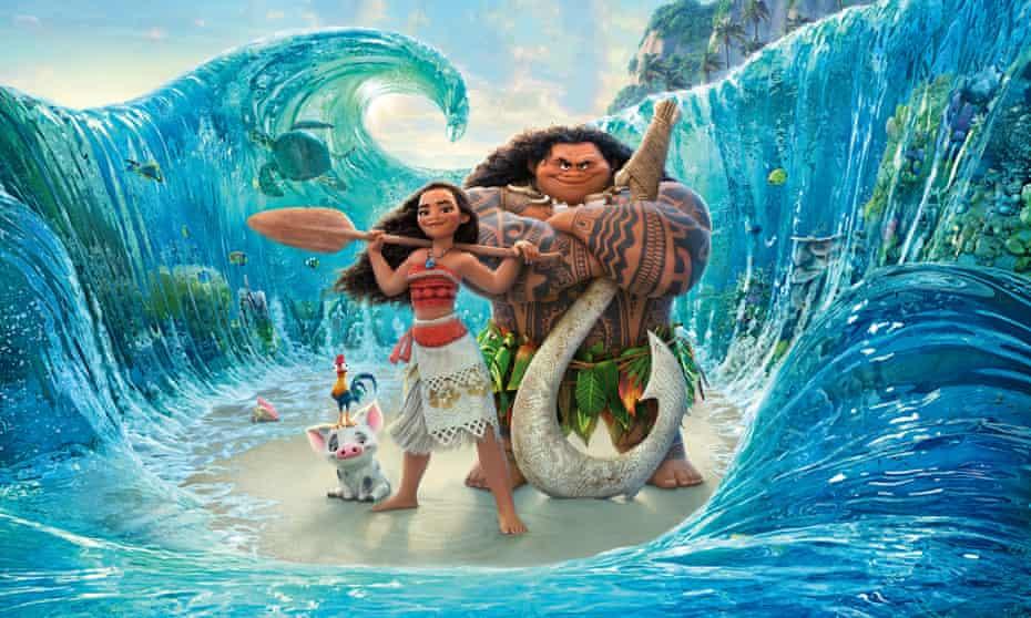 Moana, the adventurous Pacific Island teenager, with companion Maui.