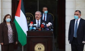 Palestinian prime minister Mohammad Shtayyeh makes statements to press members regarding the closure of entrances and exits of Hebron and Nablus provinces due to a rise in infection cases, in Ramallah, West Bank on 20 June, 2020.