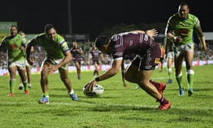 Matthew Wright of Manly scores a try against Canberra Raiders, as he and his teammates ignored salary cap troubles at the Sea Eagles.