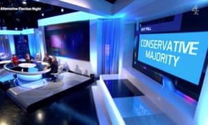 Audience boos the exit poll on Channel 4's Alternative Election show.