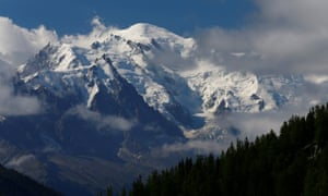The Mont-Blanc mountain and summit are seen from Emosson, Switzerland.