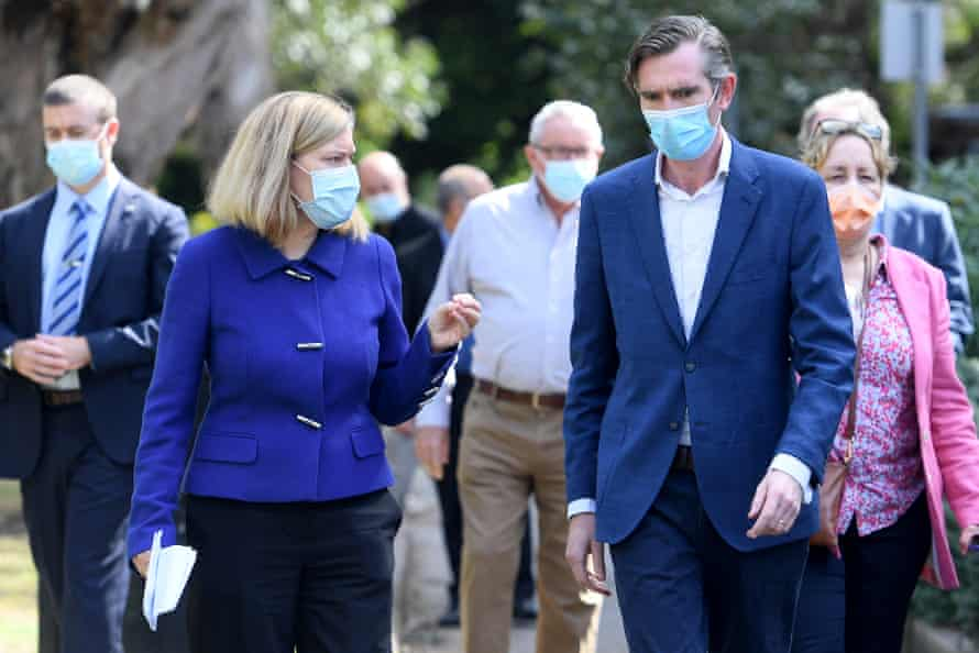 NSW premier Dominic Perrottet and chief health officer Dr Kerry Chant on Saturday.