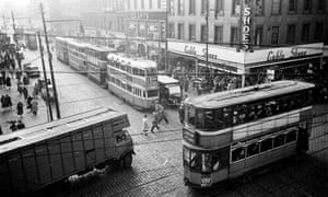 Glasgow Junction20th August 1955: Trams crossing the junction where Argyle Street crosses Union Street in Glasgow, near the Central Station. The tram system has been designed to alleviate problems in this area which often suffers from traffic jams and bottle-necks. The long term suggestions for a solution include a by-pass, which would enable vehicles to travel through the outskirts of the city, and an outer circle road around Glasgow at a distance of four miles from the city centre. Original Publication: Picture Post - 7942 - Let Glasgow Flourish! - pub. 1955 (Photo by Haywood Magee/Picture Post/Getty Images)