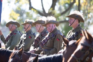 """Ron Dowell (2nd Right) riding """"Willow"""" a member of the Murrumburrah Light Horse re-enctment troop at the Anzac Day ceremony for Harden/ Murrumburrah on the South-West slopes of NSW 60kms North-West of Yass NSW this morning. Sunday 25th April 2021. Photograph by Mike Bowers. Guardian Australia"""