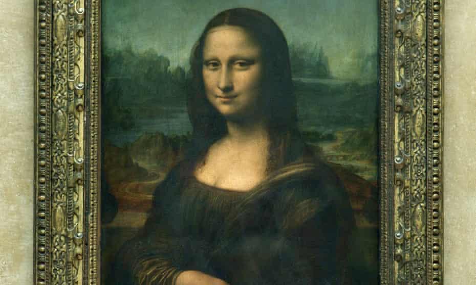 The Mona Lisa, painted by Leonardo da Vinci, in the Louvre museum in Paris.