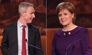 Jim Murphy and Nicola Sturgeon during the second leaders' debate in Scotland.