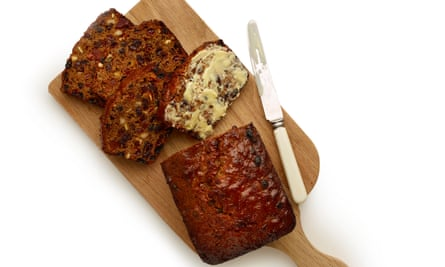 The perfect barmbrack, buttered and served with a cuppa.