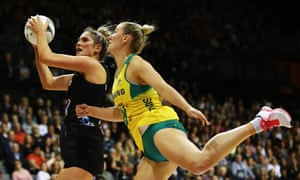 Te Paea Selby-Rickit of the Silver Ferns secures the ball during the Constellation Cup match against the Australia Diamonds in Hamilton, New Zealand.