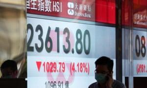 The Hang Seng index shows big losses in Hong Kong in May