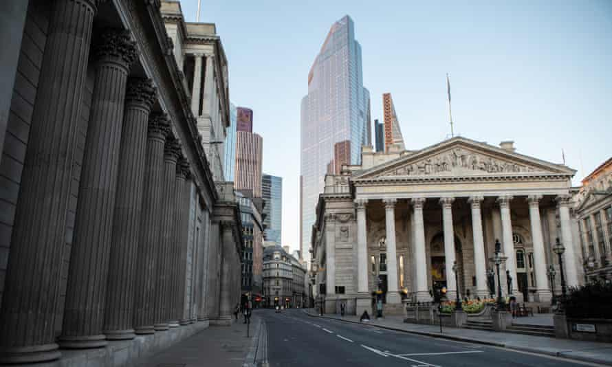 Bank of England building and empty streets during first lockdown
