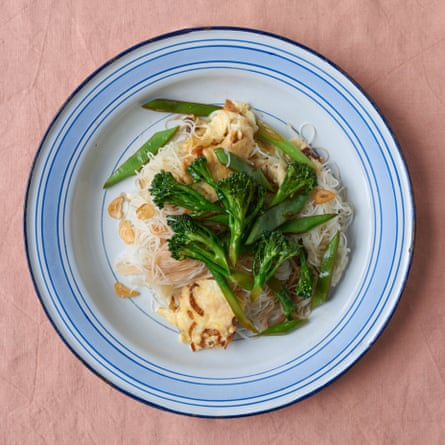 Uyen Luu's egg-fried noodles with broccoli and runner beans.