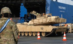 A US tank is unloaded at the German port of Bremerhaven in preparation for military exercises in February 2020