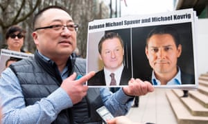 Demonstrators in Vancouver calling for the release of Canadians Michael Spavor and Michael Kovrig
