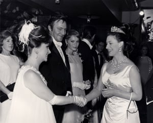 Gina Lollobrigida, Christopher Plummer and Mia Farrow meet Princess Margaret at the premiere of Zeffirelli's the Taming of the Shrew in London in February 1967