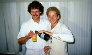 David Gower of England<br>Aug 1985:  David Gower and Richard Ellison of England celebrate after their victory in the Fifth Test against Australia at Edgbaston in Birmingham, England. England won by an innings and 118 runs. \ Mandatory Credit: Adrian  Murrell/Allsport