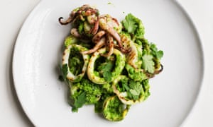 Squids in: squid with pea and coriander chutney.
