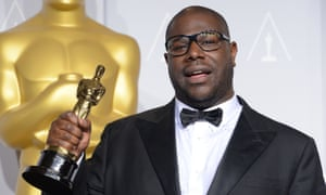 Steve McQueen with his best picture Oscar for 12 Years A Slave in 2014.