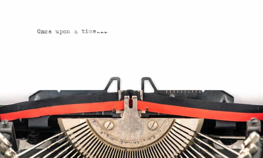 typewriter with 'once upon a time' written on it
