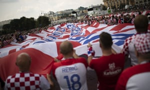 Croatia fans wave a giant banner at the Manezhnaya Square in Moscow before the final.