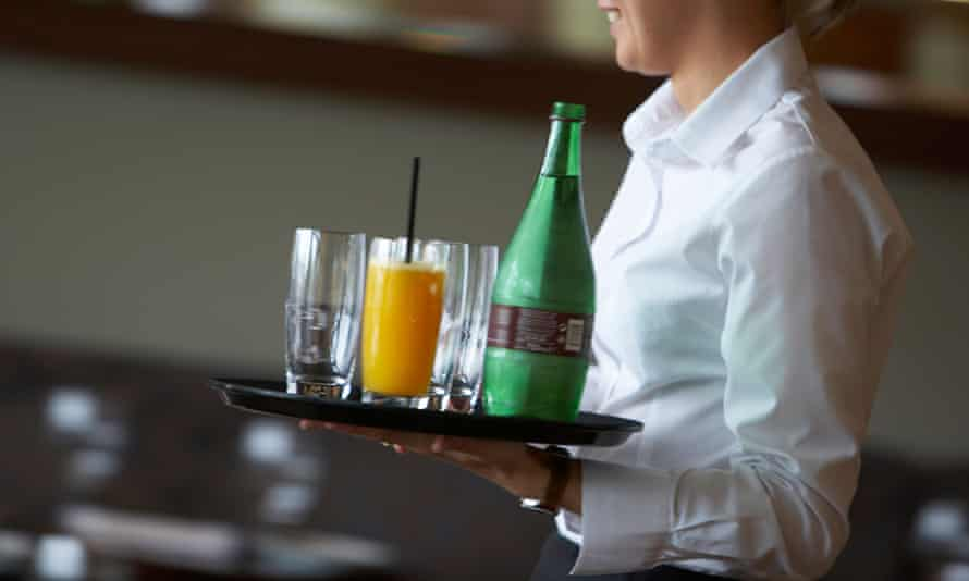 Waitress with tray of drinks