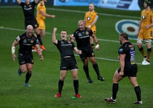 Joe Simmonds of Exeter Chiefs celebrates after scoring a penalty.