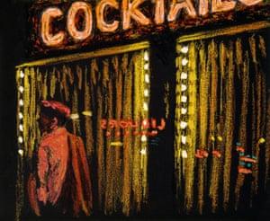 Study of Cocktails, 1984, oil stick on black paper