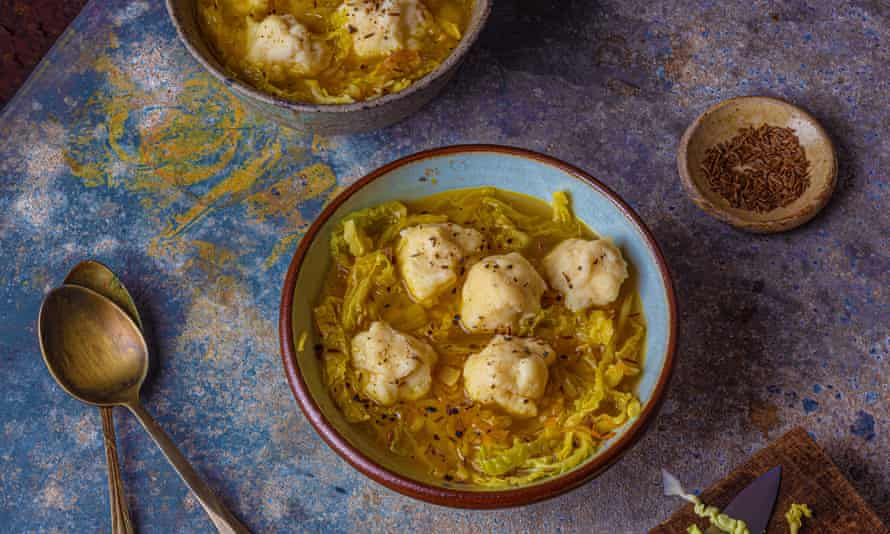 Simon Hopkinson's cabbage, caraway and pepper soup with potato dumplings.
