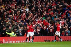 Marcus Rashford of Manchester United celebrates after scoring the opening goal.