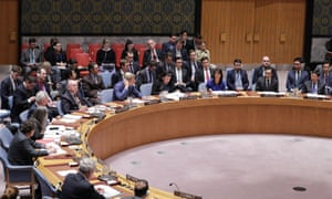 The UN security council meeting in New York.
