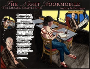 Audrey Niffenegger's The Night Bookmobile 2008 Ink, gouache and inkjet print. Alexandra happens upon a bookmobile at 4am. Inside she discovers a collection of every book she has ever read – a portrait of her life.