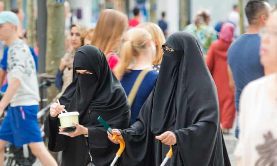 Two women wearing burqas in Frankfurt, Germany