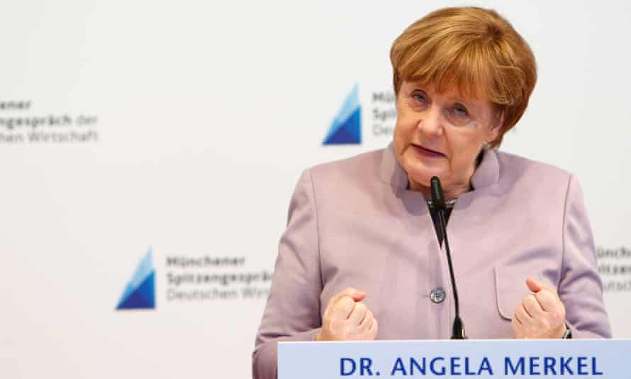 Angela Merkel speaks during the international trade fair in Munich, Germany.