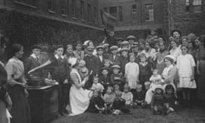 Belgian refugees in London in July 1914. Many more were to follow them to Britain in the following months
