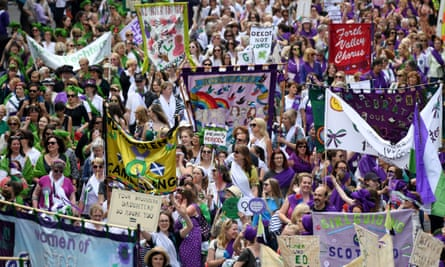 A march in Edinburgh on 10 June 2018 in Edinburgh to mark 100 years since women won the right to vote in the UK