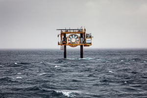 The Orkney Islands are geographically and meteorologically unique. Their location at the meeting point of the Atlantic Ocean and the North Sea leaves the islands exposed to incessant heavy winds and waves and exceptionally strong currents and tides. This abandoned test site for tidal energy is located at the Fall of Warness, off the island of Eday. The open-centred turbine was installed in 2006 and was the first tidal turbine to deliver electricity to the UK's national grid.
