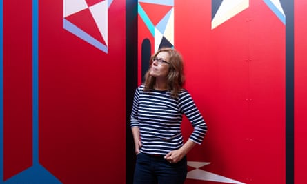 The German artist Catrin Huber with one of the panels she created for the Expanded Interiors project.