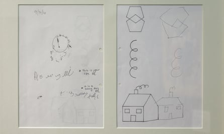 Drawings done by Pratchett as part of his posterior cortical atrophy tests.