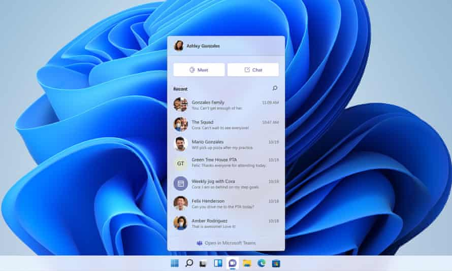 Microsoft Teamsは、Windows11タスクバーに直接統合されます。