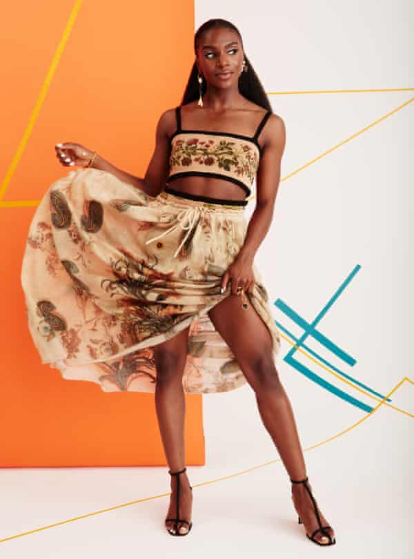 Winning ways: Dina Asher-Smith wears bralette, skirt and jewellery all by dior.com and shoes by neous.co.uk.